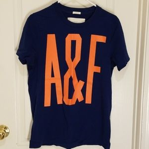 Blue with orange A&F lettering muscle tee, size XL
